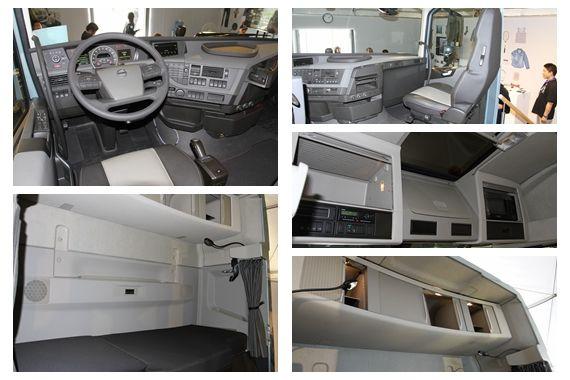 全新FH的内饰空间(从左向右从上往下:驾驶席、后排床铺、副驾驶席、驾驶席头上储物空间、床铺上方储物空间)