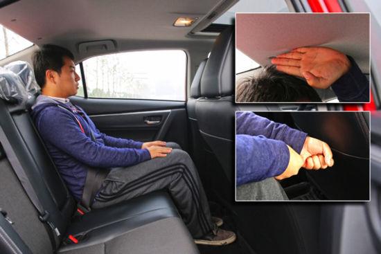 后排空间方面,雷凌2700mm的轴距确实帮了不少忙,保证前排座椅不动
