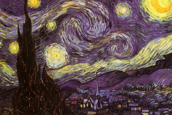 梵高 抽象风景油画《星空》