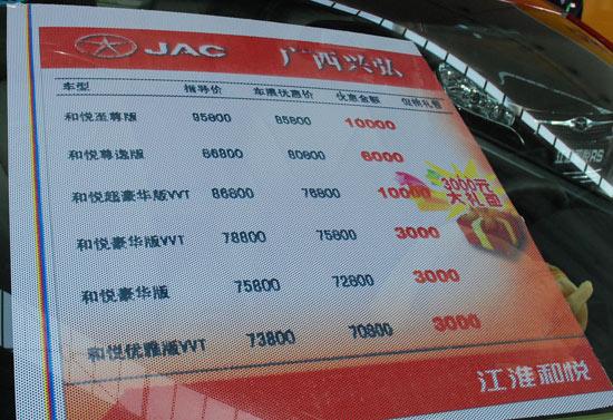江淮和悦价格表
