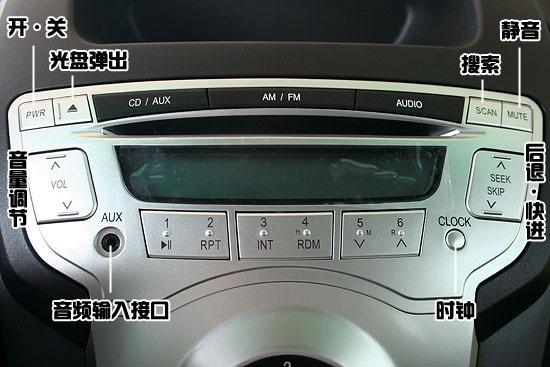 中控台上部的音响控制面板