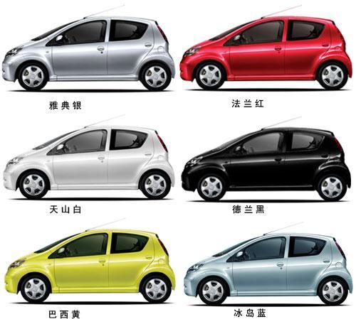 比亚迪F0共有6种颜色可供选择,分别是巴西黄、冰岛蓝、德兰黑、法兰红、天山白以及雅典银