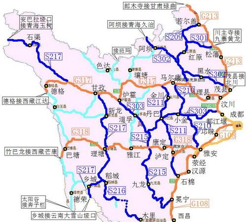 川西自驾车旅行线路概述