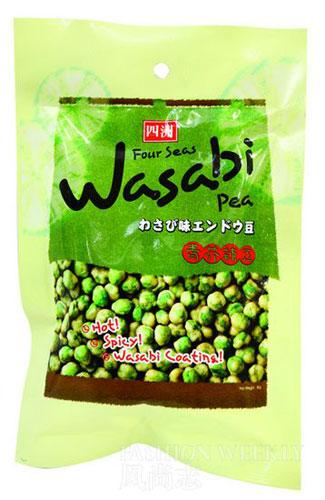 青芥辣豆:芥末口味的新鲜青豌豆制成,香脆可口。16.5元/袋。