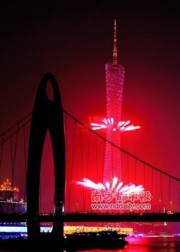 广州塔在亚运会期间大放异彩