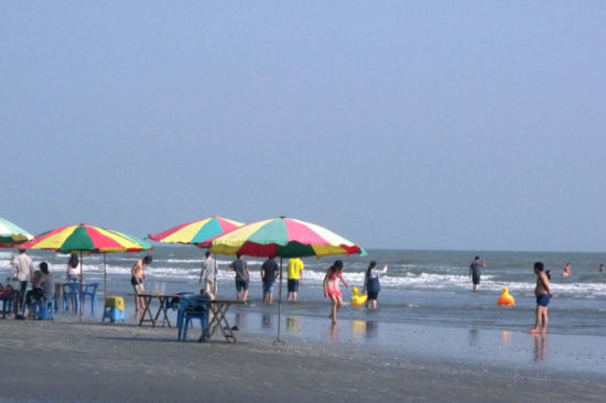 在海滩上欢乐玩耍的人们