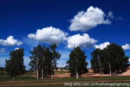 蓝天白云辽阔草原psd分层模板; 走进美丽坝上草原; 湖上蓝天白云
