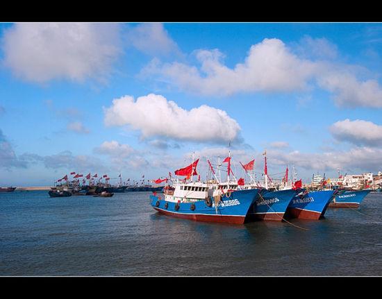 望海广场的码头停泊着很多渔船