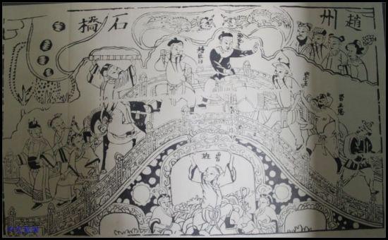 武强年画——赵州桥神话故事-鲁班造桥