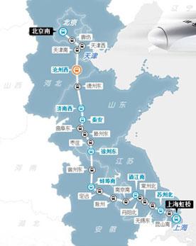 京沪高铁线路图