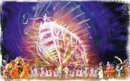 2010广州亚运会开幕式舞美总设计师苗培如手绘效果图 CFP/供图