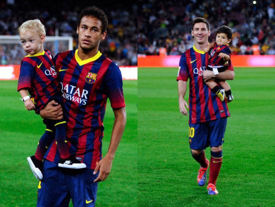 内马尔和梅西各自抱着儿子