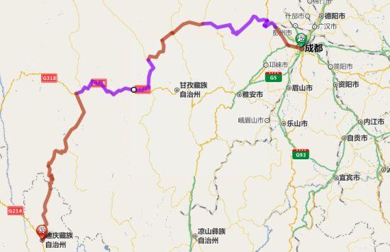 成都-香格里拉骑行线路图。