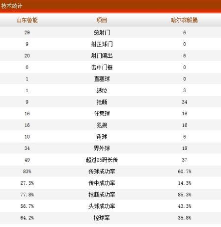 山东鲁能1-0哈尔滨毅腾技术统计