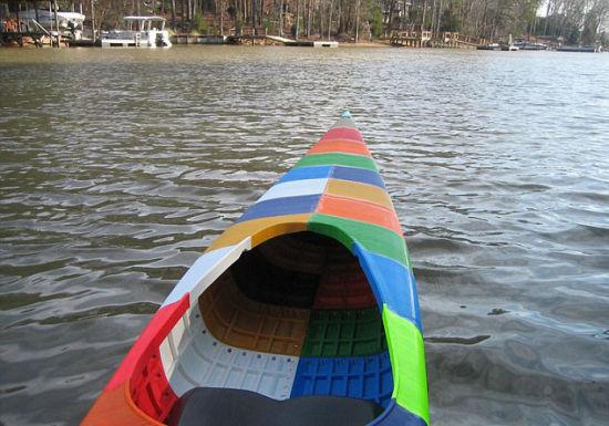塑料大桶自制船图片