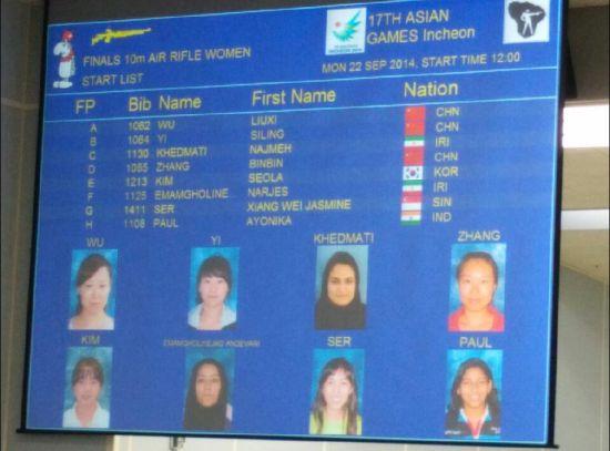 现场大屏幕显示晋级个人赛8名选手,张彬彬在列。