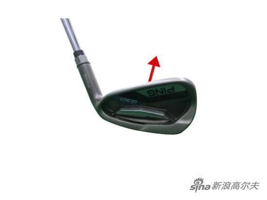 相反,触球瞬间杆头跟部高于趾部的话,杆面会自动转向目标右侧(图4)