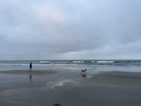美丽的亨廷顿海滩上的跑步者。