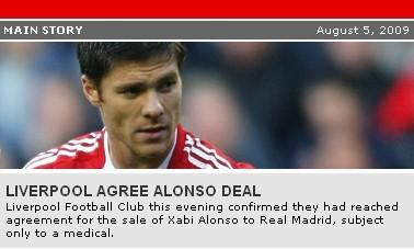 皇马官方宣布与利物浦达协议阿隆索3500万将加盟