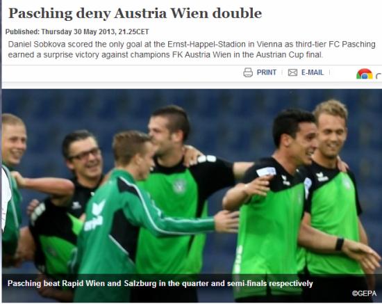 5月30日,奥地利杯决赛,帕兴队神奇捧杯。