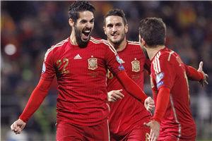 欧预赛-伊斯科世界波巴萨两将破门西班牙3-0