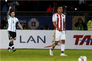 美洲杯-梅西阿圭罗进球阿根廷90分钟丢球2-2