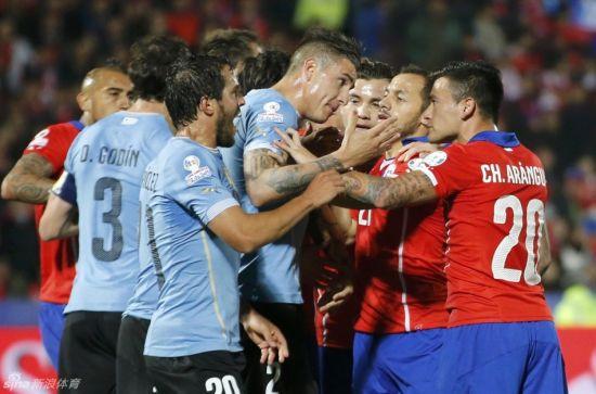 乌拉圭与智利火爆冲突