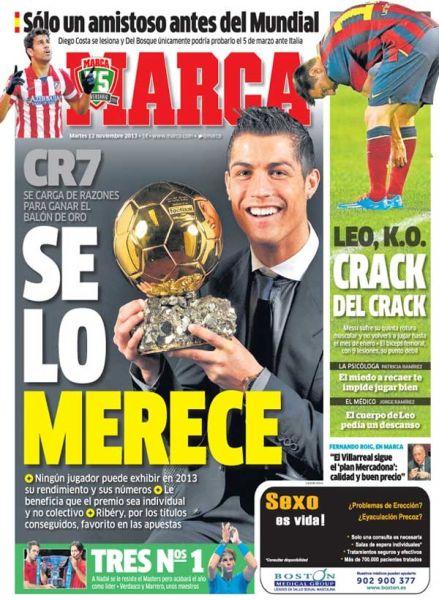 金球!克里斯蒂亚诺金球!金球!――西班牙《马卡报》在金球奖评选上为C罗造势