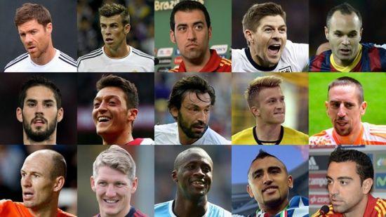 FIFA公布的世界最佳中场15人候选名单