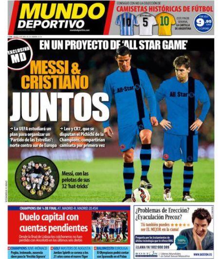 《世界体育报》透露说,欧足联正在策划一场明星赛,梅西有望和C罗当队友