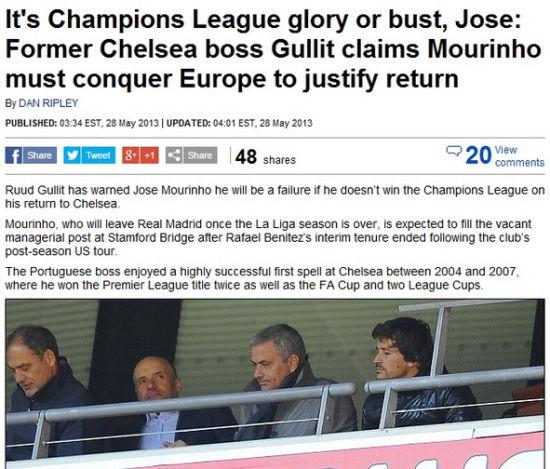 古力特:穆里尼奥不拿欧冠即失败