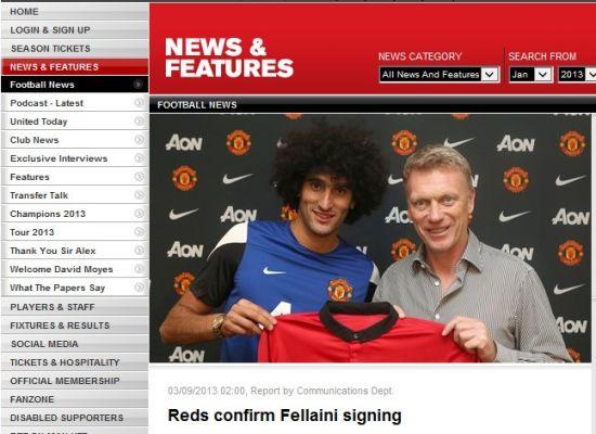 曼联官方确认签下费莱尼