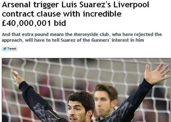 阿森纳曾以4000万+1英镑求购苏亚雷斯