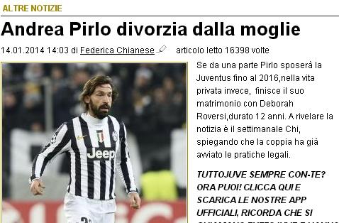 意大利媒体曝皮尔洛将离婚
