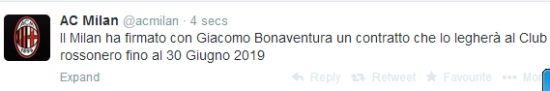 AC米兰官方宣布签下博纳文图拉