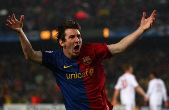 2008/09赛季梅西带领巴萨主场4比0战胜拜仁