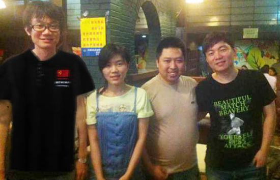中国棋手合影,从左至右:曹冬、汪清清、兰志仁、黄修一