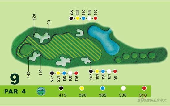 图文-宝鸡都市高尔夫俱乐部球道图第九洞