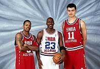 NBA老照片-那一年的三人行姚明乔丹弗老大全明星合影