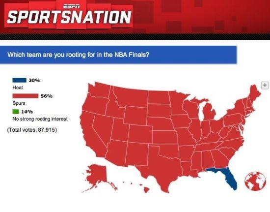 目前ESPN调查的总决赛支持率。红色代表马刺支持率超过50%的州,蓝色代表热火支持率超过50%的州。