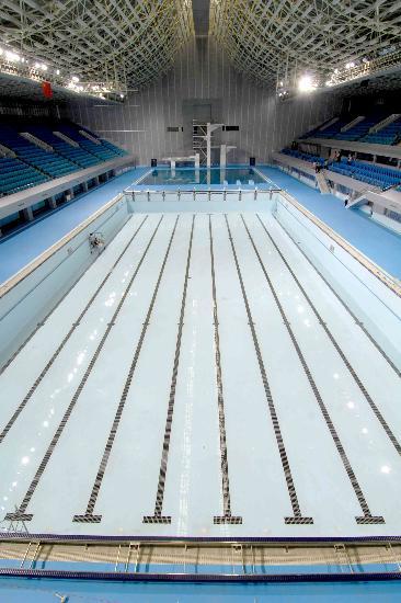 图文-奥体中心英东游泳馆改扩建竣工 崭新的泳道