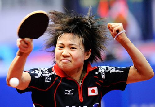 图文-[世乒赛女团]日本3-2韩国 平野早矢香扳平比分