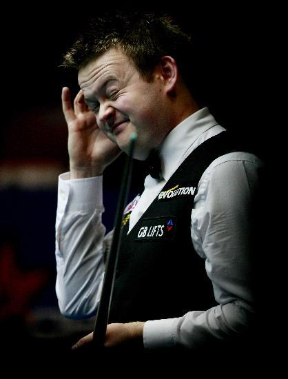 图文-斯诺克中国公开赛决赛赛况小胖子表情丰富