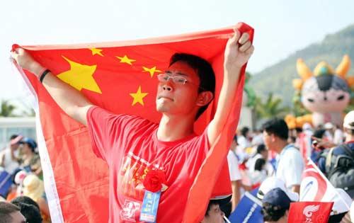 图文-北京奥运圣火三亚起跑仪式 现场热盼圣火