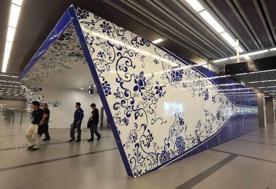 图文-体验北京地铁奥运支线 北土城出口颇具特色