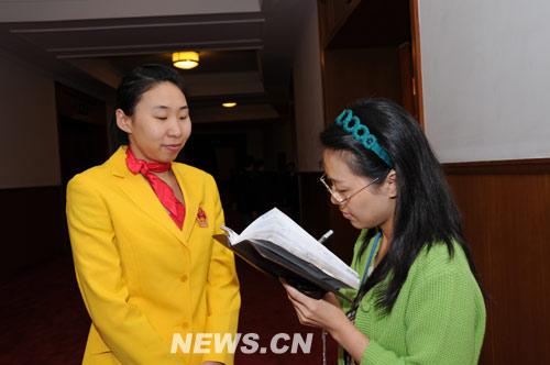 图文-北京奥运残奥表彰大会 苗立杰接受记者采访