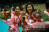 图文-女排联赛天津第六次夺冠天津新老两位自由人