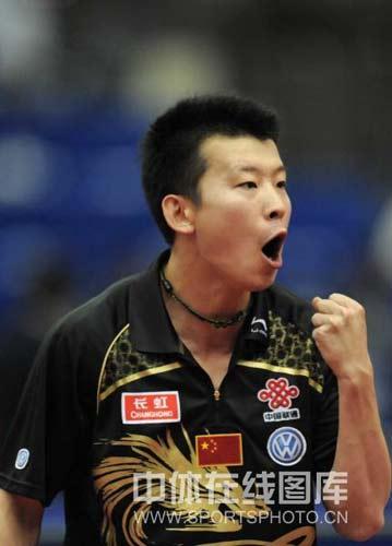 图文-世乒赛男单张超遭遇淘汰为自己鼓舞士气