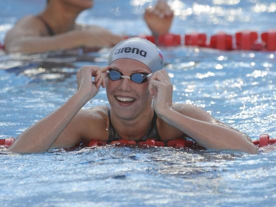 图文-世锦赛女子50米仰泳半决赛祖耶娃喜笑颜开