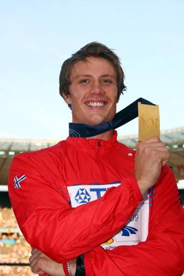 图文-田径世锦赛男子标枪颁奖索尔基德森信心满满